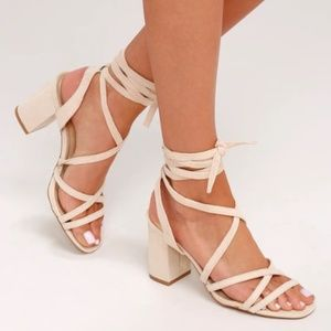 NWT Ashton Nude Suede Lace-Up Heels